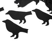 100 Black Crow Bird punch die cut confetti embellishments  - No173