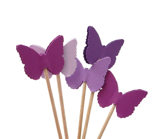 24 classic purple butterfly party picks cupcake toppers food picks