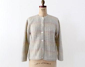 FREE SHIP  1950s pastel cardigan sweater, vintage cardi