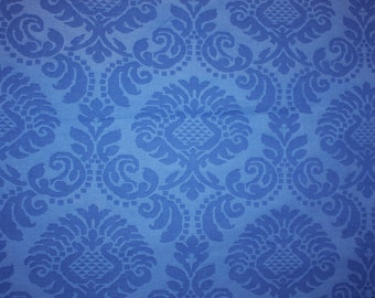 Blue Damask Fabric - Artichoke Pattern, English Decor, Vintage Designer Fabric, Decorator Fabric, Fabric by the Yard