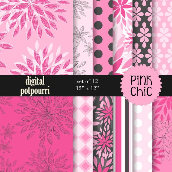 buy2get1 digital paper pack - pink chic - 12 papers