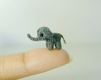 0.4 inch gray baby elephant - extreme micro crochet elephant - tiny amigurumi miniature stuffed animals