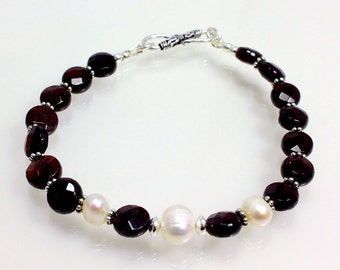 Garnet and Freshwater Pearl Bracelet with Sterling Silver, January Birthstone