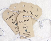 Wedding Favor Tag, Personalized Tags, Gift Tag, Bridal Shower Favor, Engagement Party, Invitation Hang Tag, Heart Tag - Set of 25 (SMGT-KTP)