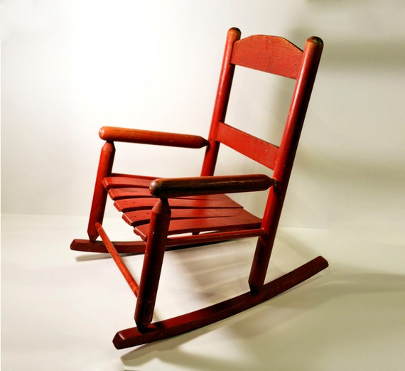 Primitive Childs Wooden Rocking Chair Rustic Red by