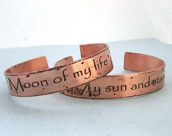 His and Hers Khal/Khaleesi Cuff Bracelets - Game of Thrones Jewelry - Couples Jewelry - Etched Copper -Valentine's Day