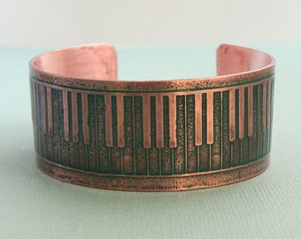 Tickle the 88 - Etched Copper Piano Keyboard Cuff Bracelet
