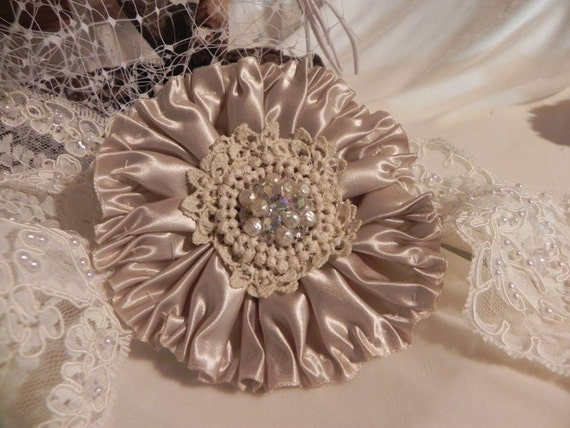 EDWARDIAN SILK RIBBONWORK Flower, Champagne Silk Wedding Hair Clip, Fascinator, Bridal Sash, Millinery Flower