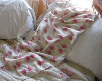 Stunning Vintage French Textile Pink Red Color Bursts - SO SOFT A72