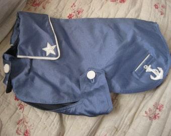 ADORABLE Vintage Dog Coat Blue Anchor Star Sailor Style By Marjon VERY RARE