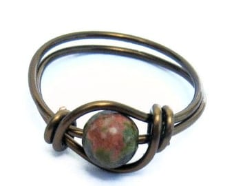 Antique Brass Uniakite Wire Wrapped earthy Ring Custom Size