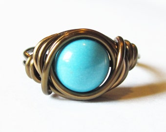 Boho Jewelry - Turquoise Ring, Wire Wrapped Antique Brass Jewelry, Bohemian Rings