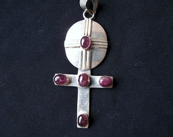 Cross Pendant, Sterling Silver, with Rubelite Tourmaline Gemstones-Free Holiday Shipping