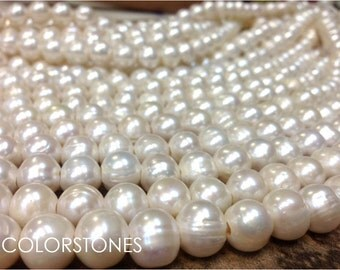 Full strand 11 to 11.5 mm Large Hole Freshwater Pearl Potato Beads - White 2.5 mm hole (ET1941RP5423W94)