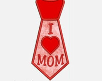 I Heart Mom Tie...Embroidery Applique Design...Three sizes for multiple hoops...Item1469...INSTANT DOWNLOAD