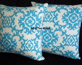 Decorative Throw Pillow Covers - Two 18 Inch - Blue and White