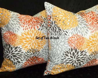 Decorative Accent Pillow Covers -Set of Two18 Inch in yellow, orange, grey and brown on White