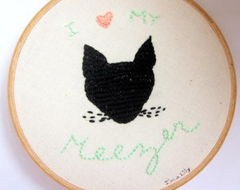 Handmade OOAK Embroidery Siamese Cat Lover Home Decor Wall Art In Black, Peach, and Green
