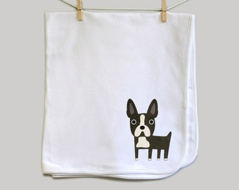 Baby blanket, Boston Terrier. Super soft 100% cotton.
