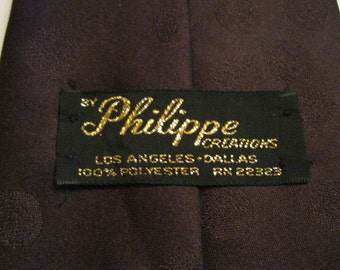 Philippe Creations  Brown on Brown Necktie Men or Ladies Vintage Retro or Modern Wardrobe Accessory to Wear or Craft into Something Fabulous