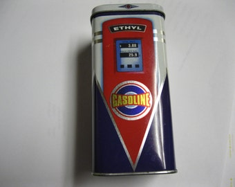 Gas Pump With Low Prices Vintage Colorful High Octane Tin Collectible Gift Idea with a Few Cars Inside for a Child or Candy for the Man Cave