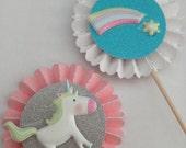 Unicorns & Rainbows Cupcake Toppers