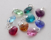 Add a personal touch ... Birthstone crystal heart charm ..... sterling silver