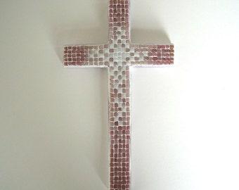 Shade of Pink Mosaic Cross