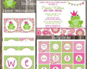 Frog Pink and Green Baby Girl Shower Package - PRINTABLE