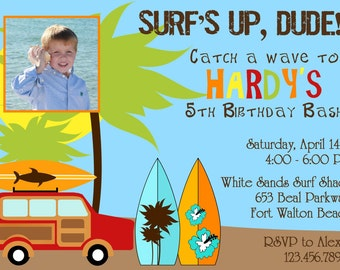Surfer Dude 5x7 Photo Birthday Party Invitation Boy Printable