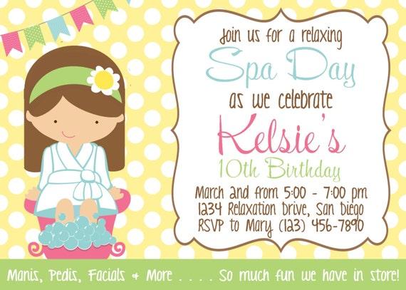 printable spa party invitations