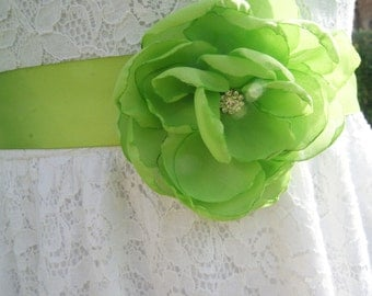 lime green wedding sash, flower girl sash, bridal chiffon flower sash,