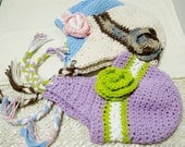 Crochet Baby Hat with Earflaps, Flower, and Pigtails  Choose color