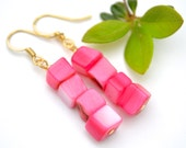 Rose Pink Mother of Pearl Shells . Earrings