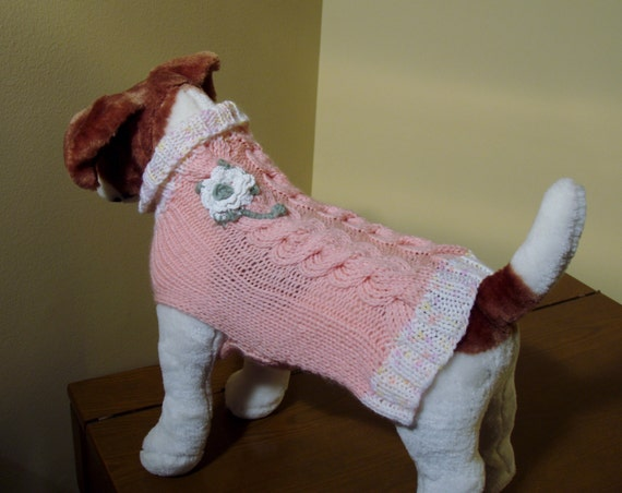 Dog Sweater Hand Knit Mia Cable Small 12 inches long
