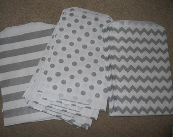 25 - 5x7 Grey and White POLKA DOT, CHEVRON, and Stripe Favor Bags, Treat bags