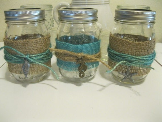 Beach theme turquoise burlap with sea metal accents mason