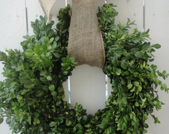 Dried Boxwood Wreath   NOW ON SALE  With Burlap Bow  Wedding Wreath   Boxwood Wreath  Boxwood  Wedding Decor  Home Decor