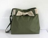 SALE - Smoke Green Canvas Bag / Diaper bag / Messenger Bag / Travel Tote / Shoulder / Cute / Bow / Hobo / Men Women - Sydney