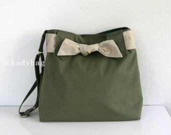 Stock SALE - Smoke Green Canvas Bag / Diaper bag / Messenger Bag / Travel Tote / Shoulder / Cute / Bow / Hobo / Men Women - Sydney