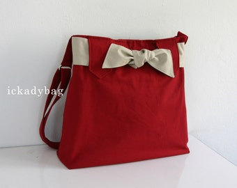 SALE - Red Messenger Bag with Bow / Diaper bag / Cute bag / Travel bag / Tote bag / Shoulder / Cute / Hobo / Men Women - Sydney