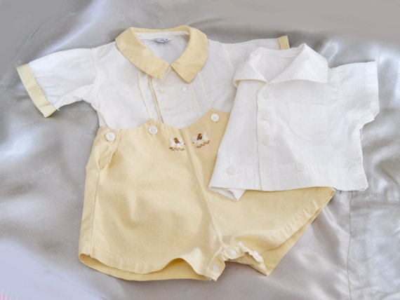 vintage baby clothes 40s yellow baby boy sailor shirt