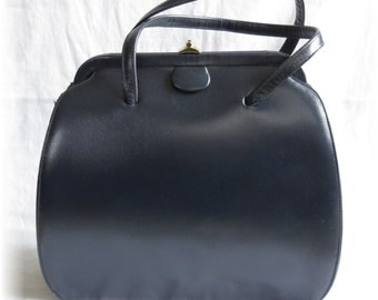 Navy Calego Handbag with Red Lining - GORGEOUS