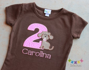 Puppy Girl Birthday Shirt-  Girly Puppy Party Shirt - PERSONALIZED