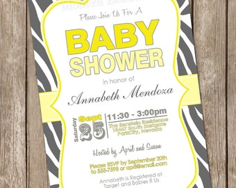 Neutral zebra print yellow and grey baby shower invitation, zebra, grey, yellow, printable invitation 20130120-K1-1