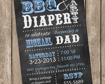 Chalkboard BBQ and diaper baby shower invitation, blue, dad diaper invitation, printable invitation