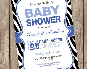 Boy Baby Shower Invitation Blue and Black Zebra Baby Shower Invitation printable invitation 20130116-K1-3