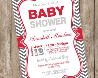 Neutral Baby Shower Invitation Red and Grey Chevron printable invitation 20121202-K1-1F