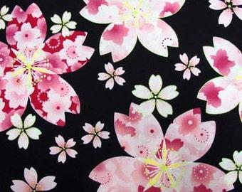 Special sale Japanese  kimono cotton fabric flower printed half yard
