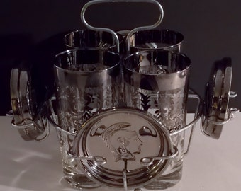 Vintage Glassware Silverplate Glasses with Carrier